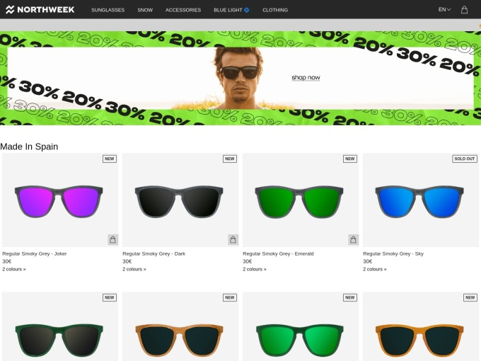 Screenshot des Onlineshops von Northweek