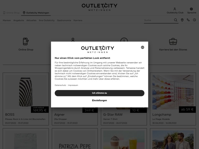 Screenshot des Onlineshops von Outletcity Metzingen