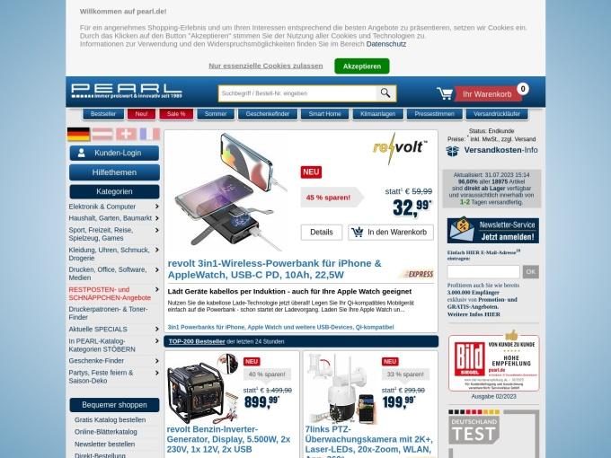 Screenshot des Onlineshops von PEARL