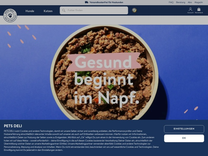 Screenshot des Onlineshops von PETS DELI