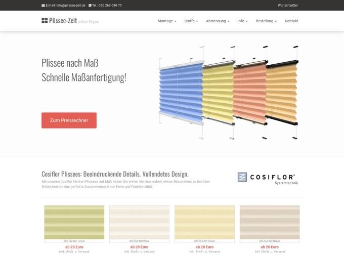 Screenshot des Onlineshops von Plissee-Zeit