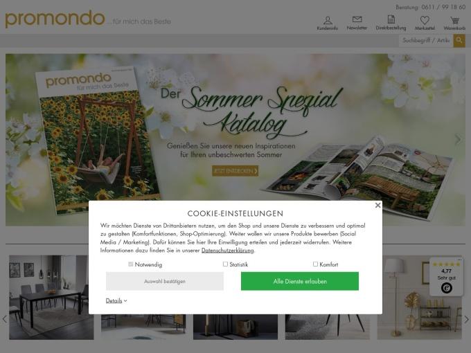 Screenshot des Onlineshops von Promondo