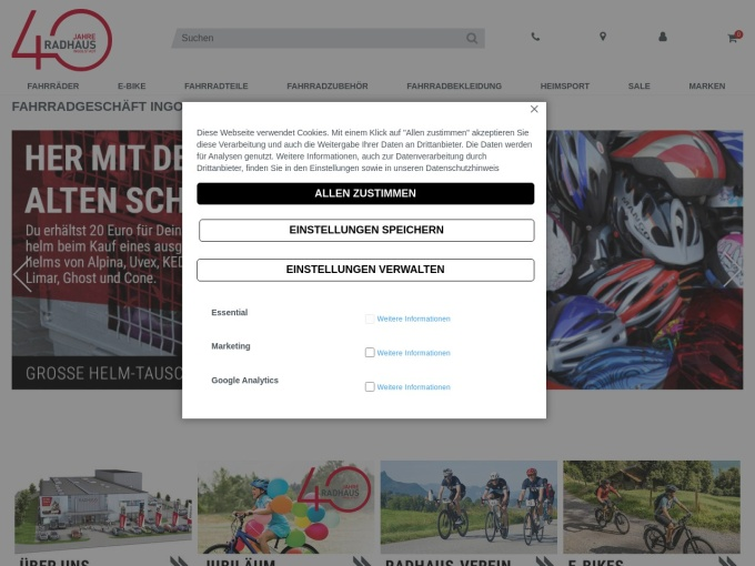 Screenshot des Onlineshops von RADHAUS