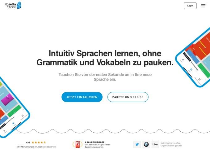 Screenshot des Onlineshops von Rosetta Stone