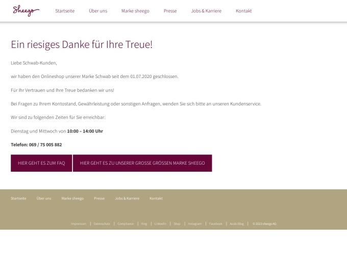 Screenshot des Onlineshops von Schwab