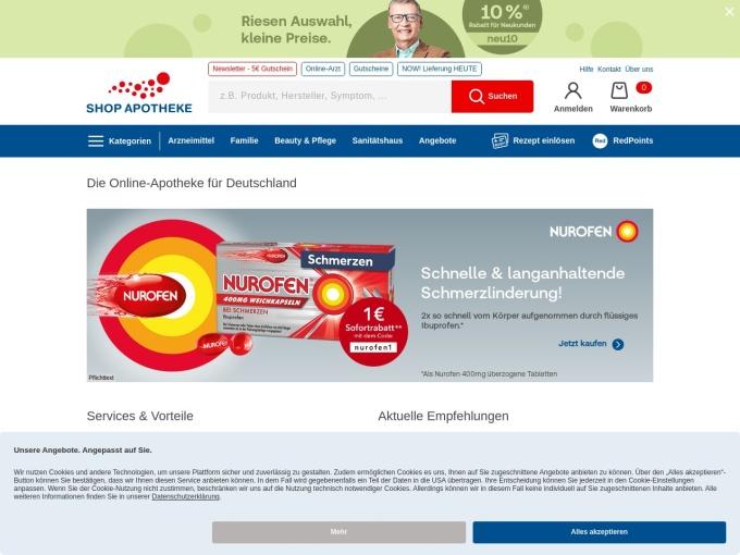 Screenshot des Onlineshops von shop-apotheke