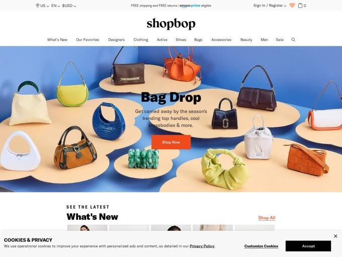 Screenshot des Onlineshops von SHOPBOP