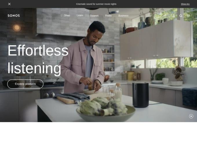 Screenshot des Onlineshops von SONOS