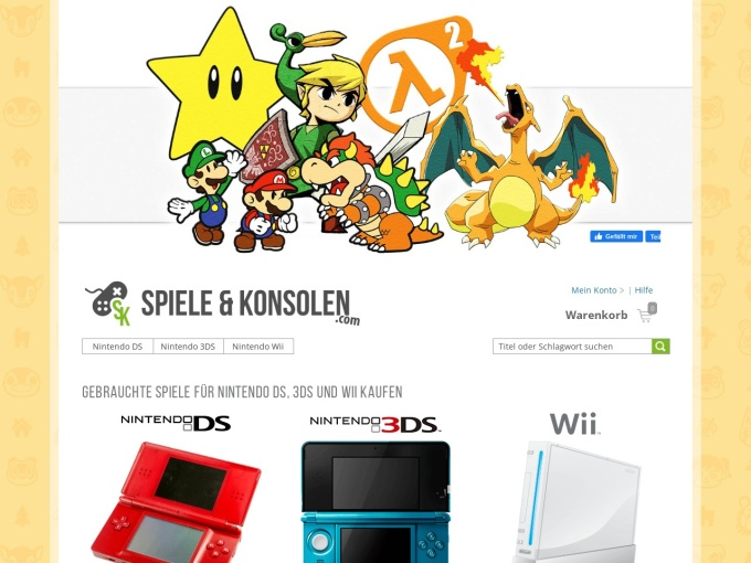 Screenshot des Onlineshops von Spiele & Konsolen