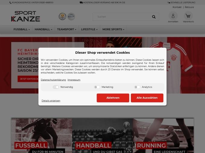 Screenshot des Onlineshops von Sport Kanze