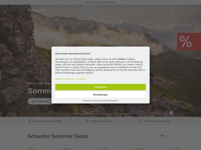 Screenshot des Onlineshops von Sport Schuster