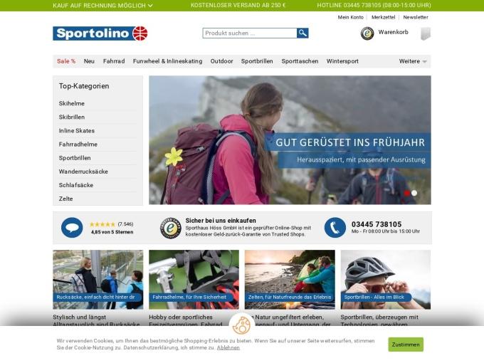 Screenshot des Onlineshops von Sportolino