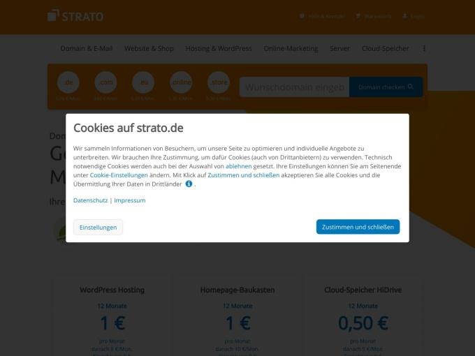 Screenshot des Onlineshops von STRATO