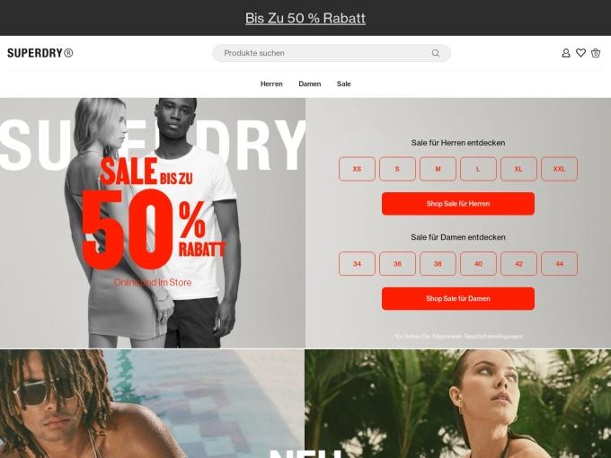 Screenshot des Onlineshops von Superdry