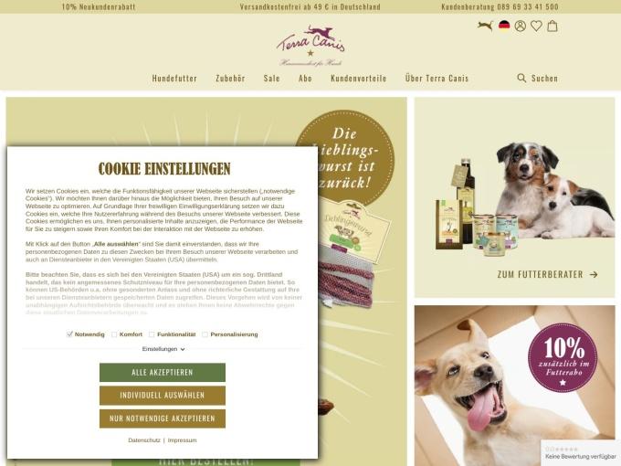 Screenshot des Onlineshops von Terra Canis