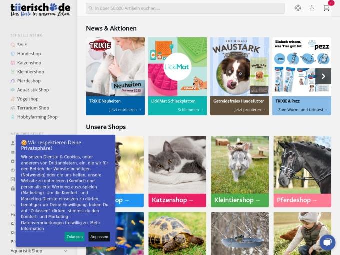 Screenshot des Onlineshops von tiierisch.de