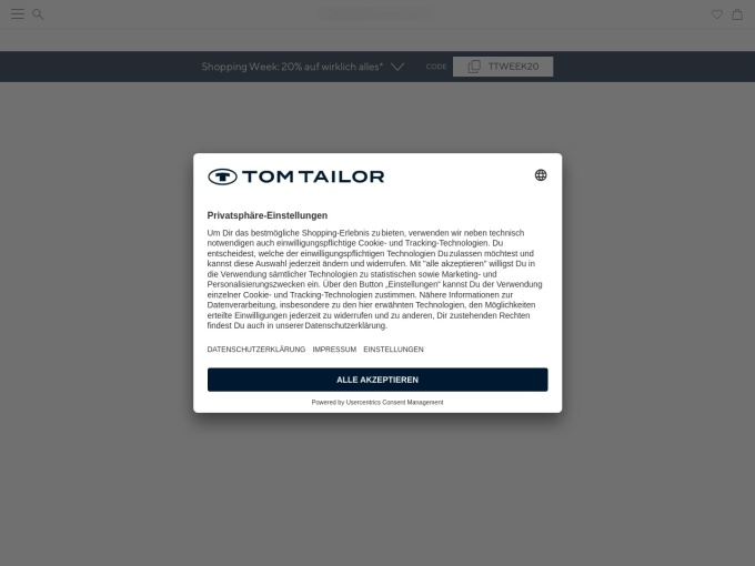 Screenshot des Onlineshops von TOM TAILOR