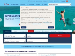 TUI Homepage Screenshot