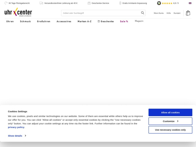 Screenshot des Onlineshops von uhrcenter