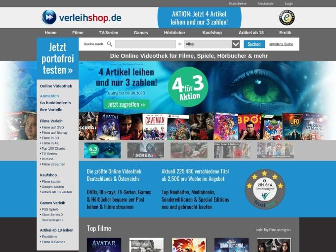 Screenshot des Onlineshops von Verleihshop