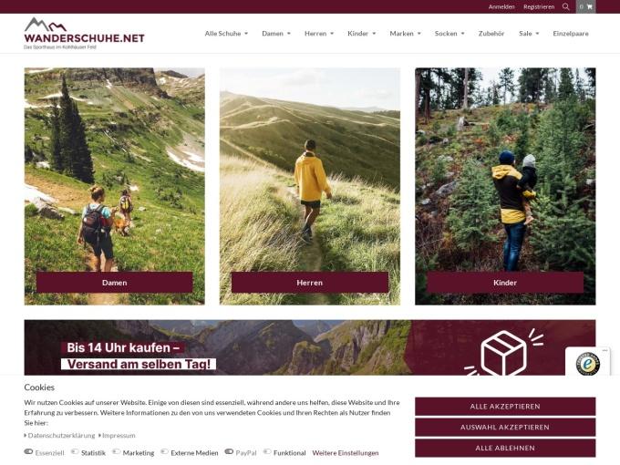 Screenshot des Onlineshops von Wanderschuhe
