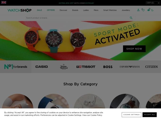 Screenshot des Onlineshops von WatchShop
