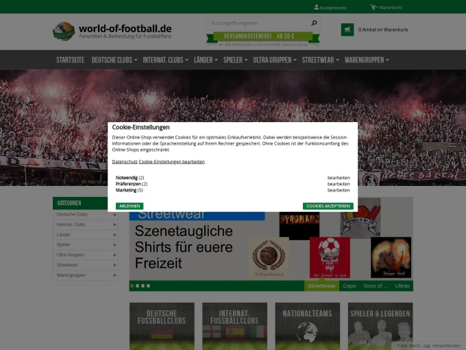 Screenshot des Onlineshops von world of football