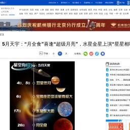 """5月天宇:""""月全食""""喜逢""""超级月亮"""""""