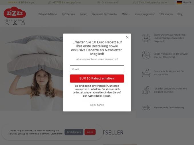 Screenshot des Onlineshops von Zizzz