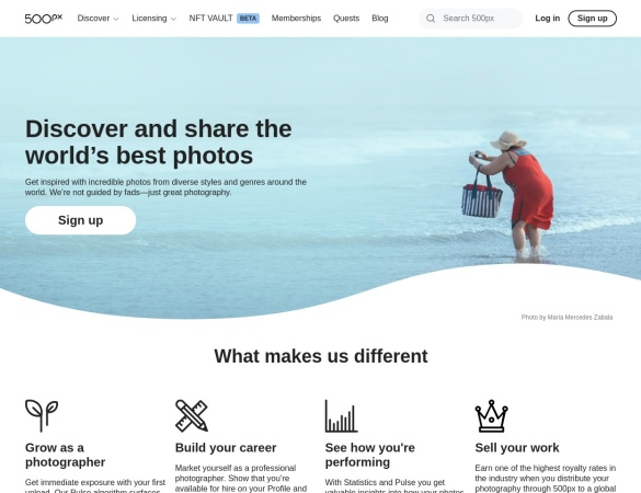 Screenshot of 500px.com