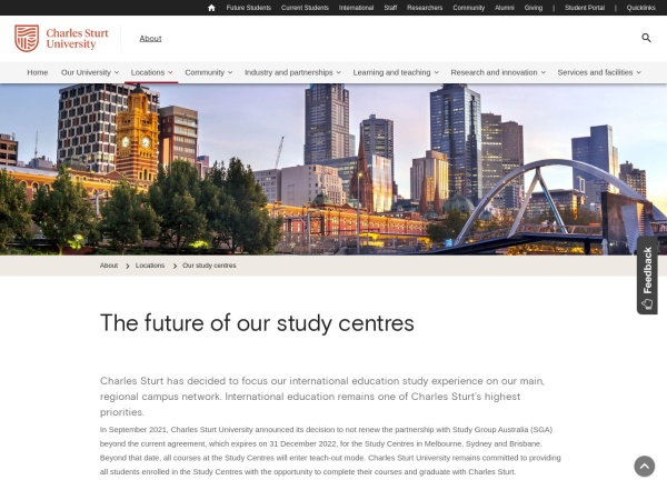 Screenshot of about.csu.edu.au