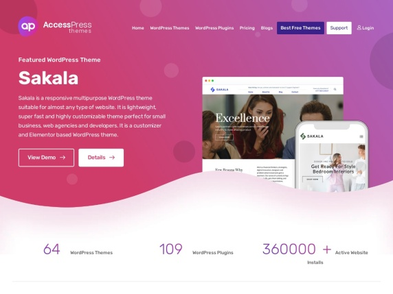 AccessPress Themes homepage