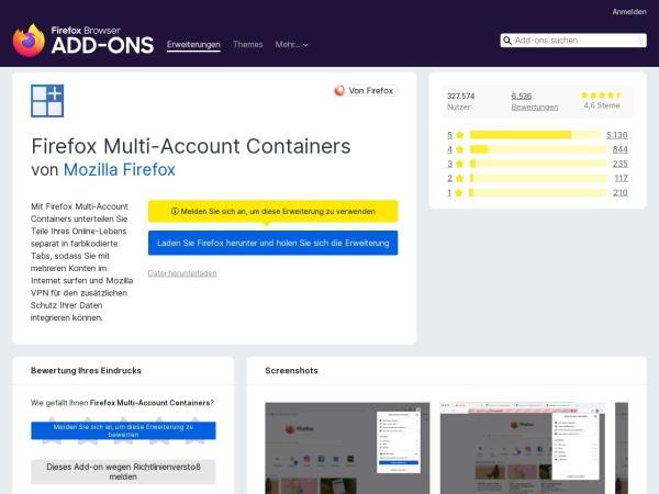 Screenshot von addons.mozilla.org