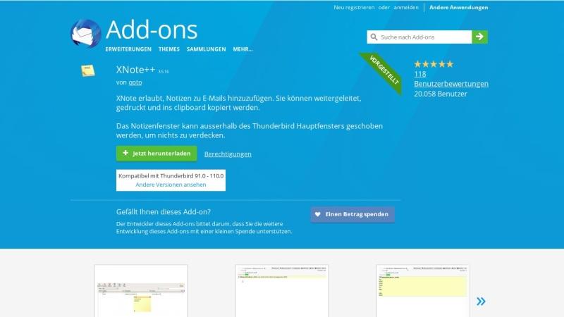 Screenshot von addons.thunderbird.net
