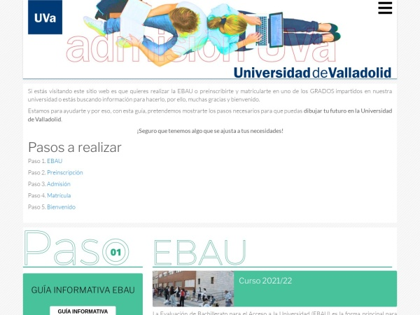 Screenshot of admision.uva.es