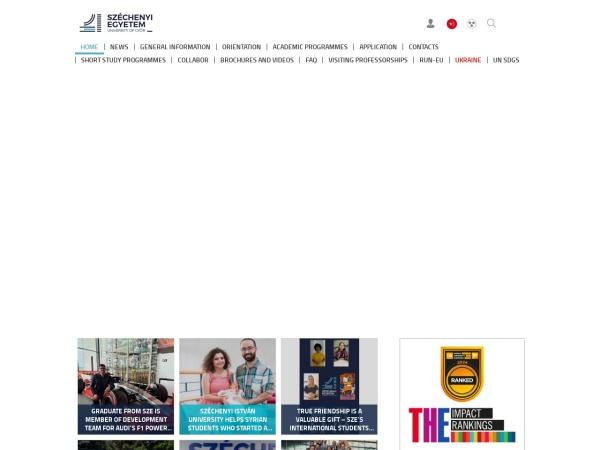 Screenshot of admissions.sze.hu