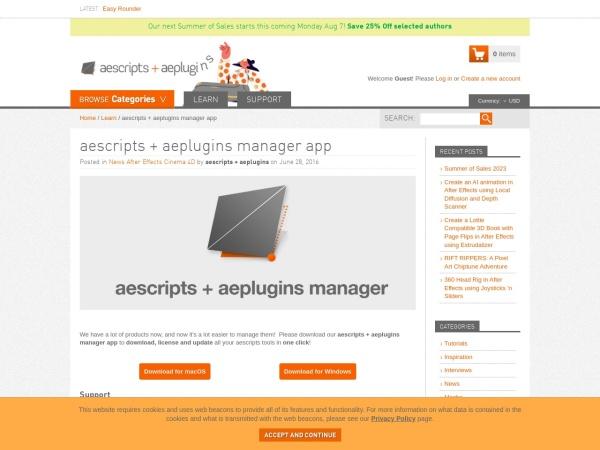Screenshot of aescripts.com