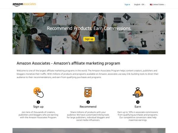 Screenshot of affiliate-program.amazon.com