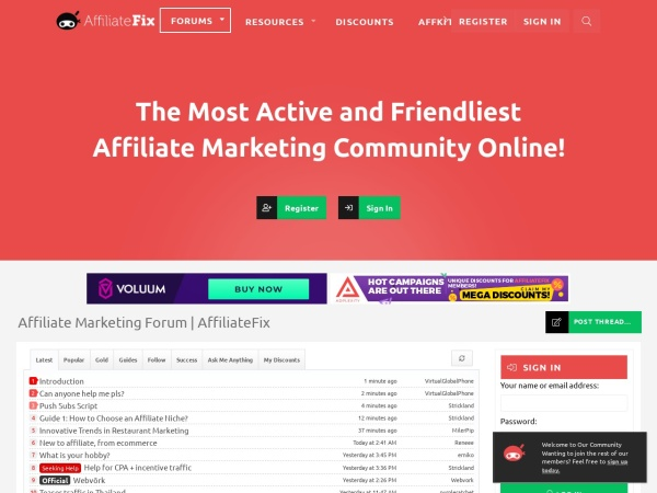 Screenshot of affiliatefix.com