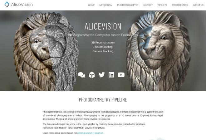 Screenshot of alicevision.github.io