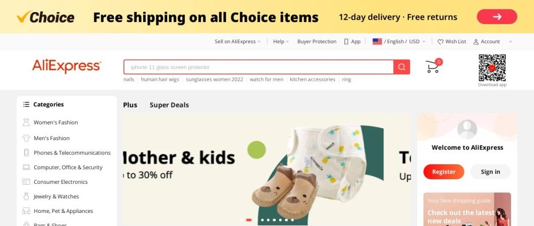 Screenshot of aliexpress.com