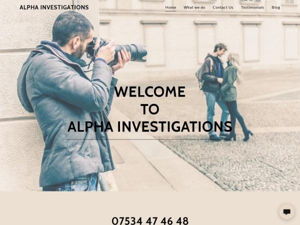 Screenshot of alphainvestigations.co.uk