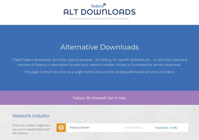 Screenshot of alt.fedoraproject.org