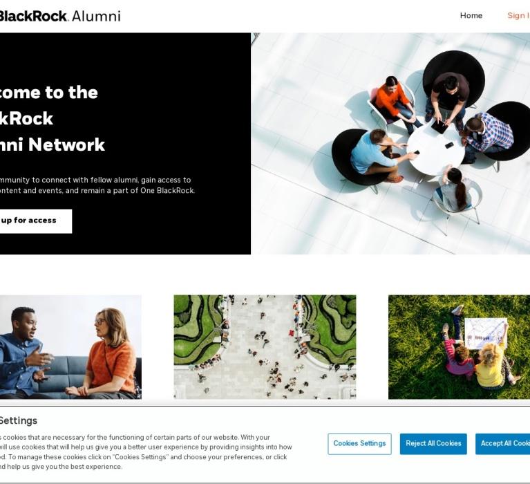 Screenshot of alumni.blackrock.com