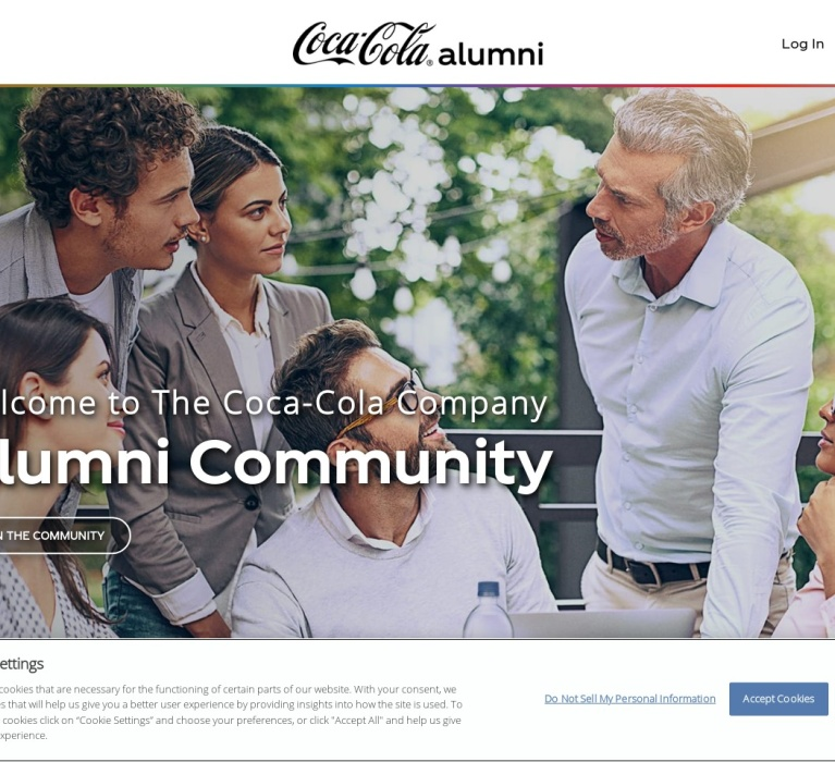 Screenshot of alumni.coca-cola.com