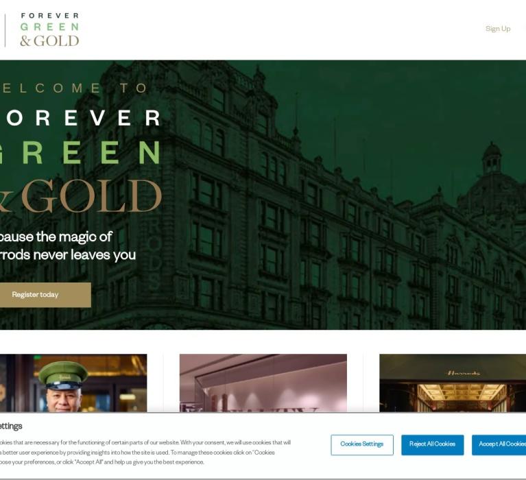 Screenshot of alumni.harrods.com