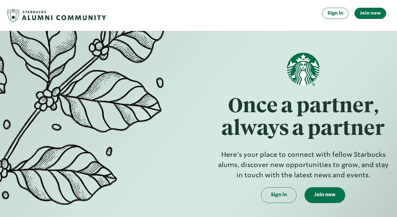 Screenshot of alumni.starbucks.com