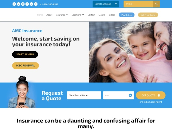 Screenshot of amcinsurance.ca