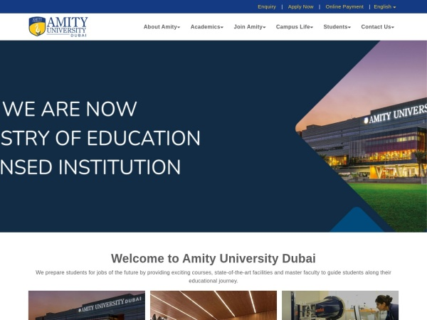 Screenshot of amityuniversity.ae