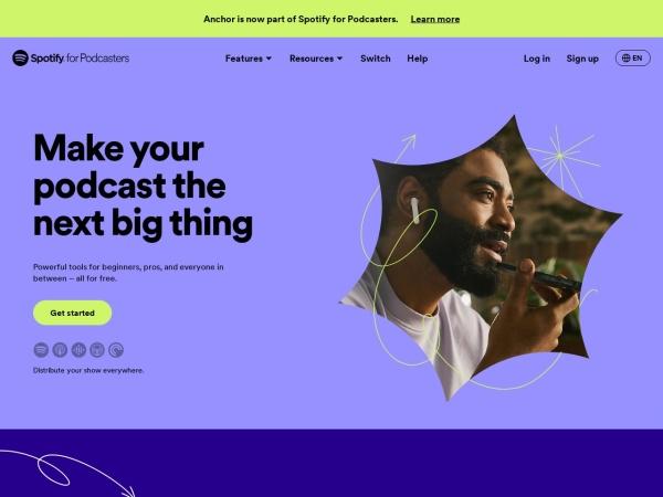 Screenshot von anchor.fm